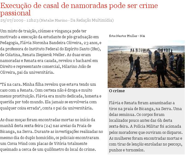 crime lésbicas Gazeta OnLine