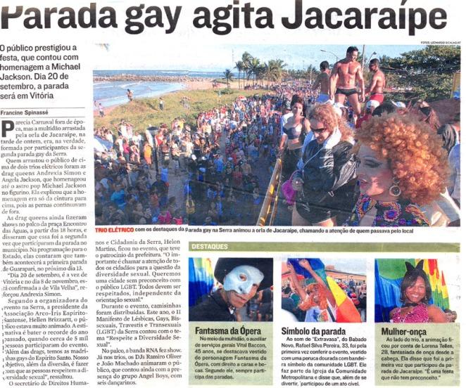 jornal a Tribuna 15-8 parada gay jacaraípe
